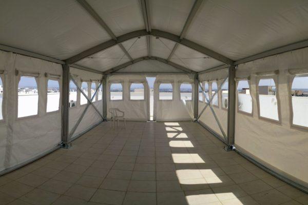 אוהל חורף לאחסנה מבט מבפנים